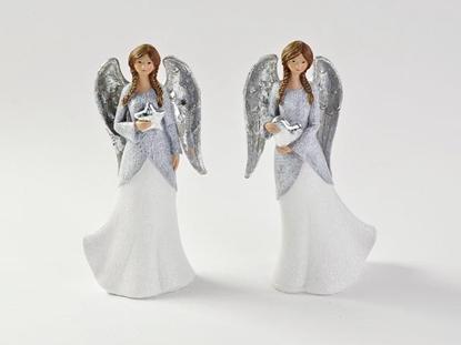 Immagine di ANGELO IN RESINA 2 ASS. BIANCO-ARG 11x8xh.24,5 CM