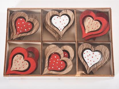 Immagine di Cuore in legno 4,2 cm / 24 pezzi in scatola