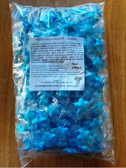 Picture of CONFETTI STELLE PERL. COLOR CELESTI INCARTATE SING. CF 1 KG