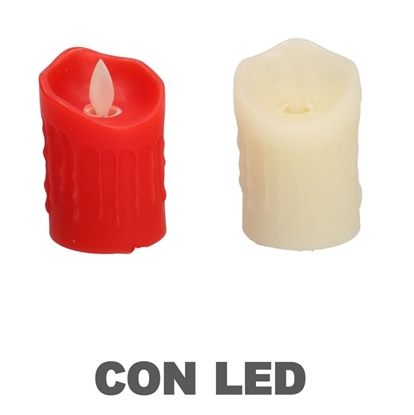 Picture of CANDELA LED AVORIO ROSSO ASSORTITI CMØ5X H8X5 C/ESPOSITORE