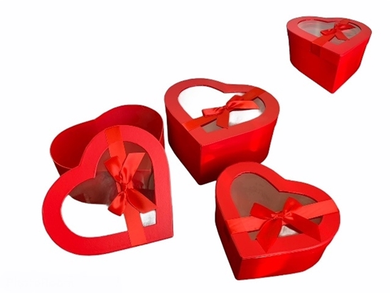 Picture of SCATOLA GIULIETTA BOXES- set 3pcs - GR 25,8x24,5x12 cm H RED