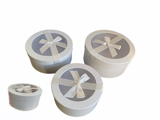 Picture of SCATOLA FLAKE BOXES - set 3pcs GR.diam. 22*10cm H - WHITE