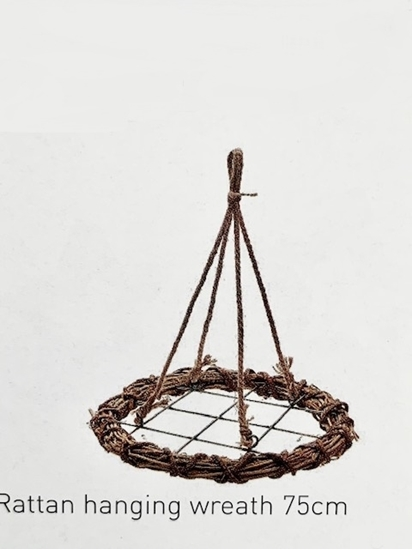 Picture of Rattan  hanging wreath  75cm