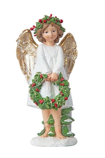 Immagine di ANGELO CON CORONCINA E LED CM.45,5x29x35