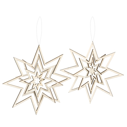 Immagine di Appendino in legno 3D stella Ø circa 18,5 cm + 21 cm